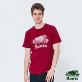 Roots -男裝- ROOTS 前胸庫柏海狸短袖T恤 - 紅色