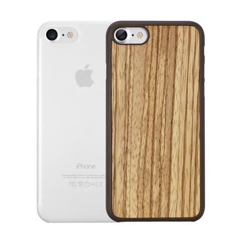 【漢博】Ozaki O!coat 0.3 iPhone 7 二合一包裝超薄木紋保護殼+超薄霧透保護殼 -班馬木/霧透白
