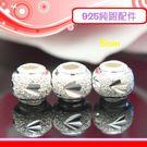 銀鏡DIY S925純銀DIY材料配件/三角葉形刻紋砂金圓珠5mm-B款~適合手作串珠/蠶絲蠟線/幸運繩-特價