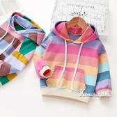 女童秋裝連帽T恤新款韓版彩虹條紋寶寶純棉上衣中小兒童套頭衫潮 Korea時尚記