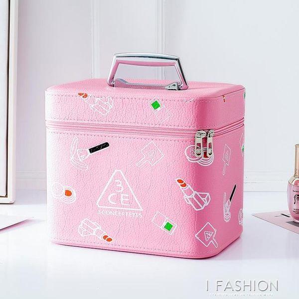 可愛韓版3CE大容量化妝包便攜手提化妝箱女生化妝品收納盒小方包-Ifashion