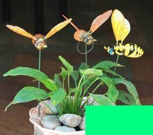 田園家居園藝工藝品 可愛花園花盆裝飾 創意蜜蜂插件擺件