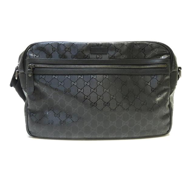 GUCCI 古馳 黑色PVC斜背包 GG Imprime Messenger Bag 211107【二手名牌BRAND OFF】