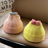 兒童毛帽  男女兒童帽子秋冬季毛線帽正韓可愛蝴蝶結兒童帽兒童帽針織【快速出貨】