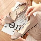 楔形鞋.MIT優雅Z字型繞踝楔形涼鞋.白...