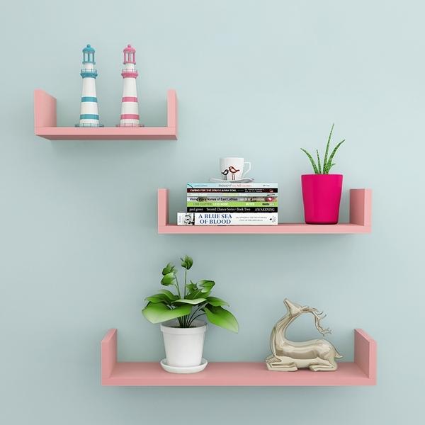 牆上置物架 書架客廳壁挂臥室床頭牆面隔板 牆壁置物架免打孔裝飾