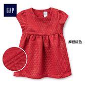 Gap女嬰兒 金屬感提花沉肩短袖洋裝 400247-摩登紅色