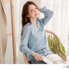 珍珠釦立體花紗雪紡上衣/襯衫 OB嚴選《...