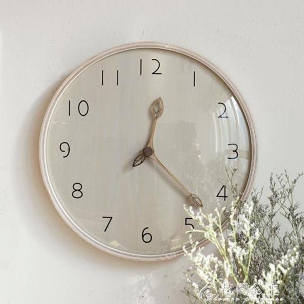 掛鐘實木時鐘客廳超靜音鐘表原木質掛鐘創意大氣潮流北歐現代簡約 快速出貨