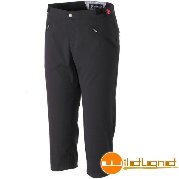 Wildland 荒野 0A31371-54黑色 女彈性抗UV合身七分褲