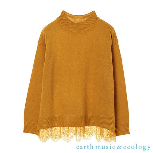 「Hot item」鏤空蕾絲下擺拼接針織上衣 - earth music&ecology