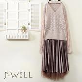 J-WELL 甜美荷葉蕾絲袖毛衣雙層緞面壓褶裙二件組(組合A665 9J1105粉+9J1034咖)