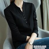 雀后黑色T恤女長袖打底衫七分袖2020秋冬新款百搭針織v領中袖上衣  聖誕節免運