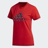 Adidas Americana女款紅色LOGO短袖上衣-NO.GK3639