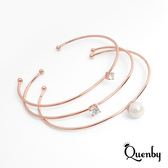 Quenby 簡約風鋯石點綴玫瑰金開口手環/飾品-3件組