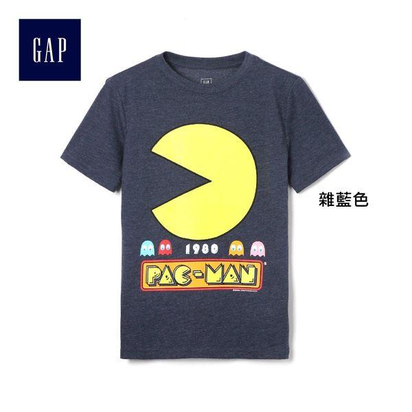 Gap男童 舒適柔軟印花圓領短袖T恤 305613-雜藍色