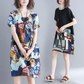 洋裝 連身裙 大碼女裝夏季減齡顯瘦中長裙子微胖mm涂鴉印花棉麻拼接短袖洋裝