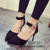 涼鞋/女春季絨面尖頭淺口細跟高跟鞋包頭一字扣夏「歐洲站」