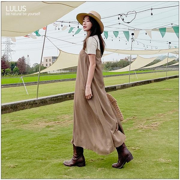 LULUS特價【A02210014】M細肩帶傘擺洋裝4色