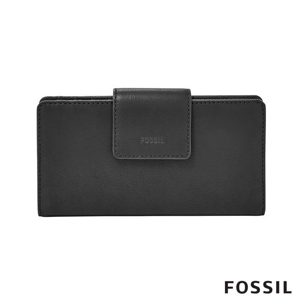 FOSSIL EMMA 真皮薄型長夾-黑色