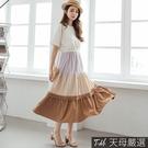 【天母嚴選】韓系多色層次拼接抽繩收腰長洋裝