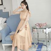 夏新款時尚氣質淑女顯瘦粉色無袖洋裝矮小個子仙女雪紡長裙艾美時尚衣櫥