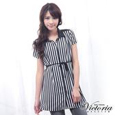 Victoria 條紋拼接雪紡短袖襯衫-女-黑白雪紡-V7505988