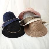 可折疊女鏤空蕾絲森系編織草帽圓頂遮陽帽