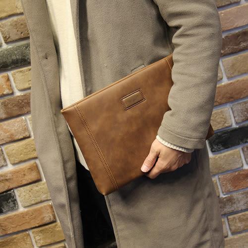 PocoPlus 手包男士手抓包手拿包大容量多功能軟皮質男包信封包10寸平板電腦 B897