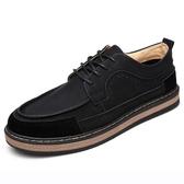 春季男士復古個性皮鞋版潮流休閒男鞋子低幫工裝伐木鞋增高板鞋   圖拉斯3C百貨