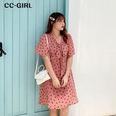中大尺碼 甜美粉色V領綁帶洋裝 - 適XL~4L《 68417HH 》CC-GIRL