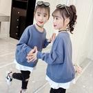 衣童趣(•‿•)韓版女童秋冬新款 假兩件 百搭T恤 純色長袖上衣