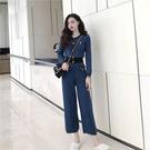 VK精品服飾 韓國風名媛針織長袖上衣百搭長褲套裝長袖褲裝