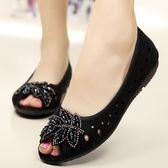 夏新款老北京布鞋女鞋平底魚嘴鞋舒適女涼鞋鏤空女網鞋媽媽鞋大碼   夢曼森居家