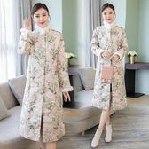 冬裝唐裝媽媽裝氣質大衣中式提花夾棉風衣旗袍上衣漢服外套洋裝