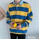 秋季新款男士ins長袖條紋POLO衫衛衣復古潮牌學生休閒百搭上衣帥『潮流世家』