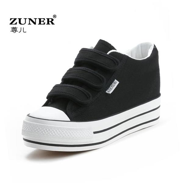 增高鞋 2020春季新款厚底內增高帆布鞋女鞋魔術貼百搭學生鞋黑色小白鞋子