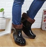 保暖雨鞋中筒夾棉特大碼防水雨靴防滑牛筋底水鞋膠鞋男靴 美芭
