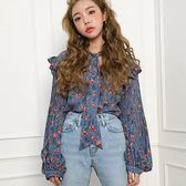 韓系長袖襯衫 復古春裝荷葉邊飾泡泡袖上衣 艾爾莎【TGK7340】