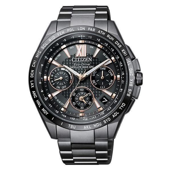 CITIZEN 星辰 限量款光動能GPS衛星對時錶鈦金屬腕錶-黑CC9017-59G