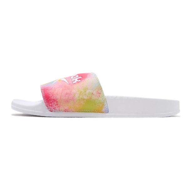 Reebok 拖鞋 Classic Slide Pride 白 彩色 男鞋 女鞋 基本款 復古 大LOGO 舒適好穿【ACS】 FY5353