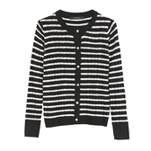 【MASTINA】條紋針織上衣-黑 0604