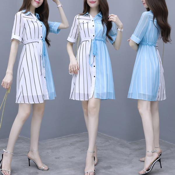 超殺29折 韓國風氣質豎條紋撞色雪紡襯衣領甜美短袖洋裝