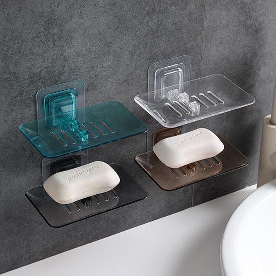 瀝水架 收納架 置物架 浴室 廚房 無痕膠 可拆 水晶皂盒 免打孔 壁掛 肥皂架【N385】米菈生活館