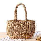 (好康免運)草編包 韓版純手工草編包度假沙灘編織菜籃子女包休閒手提小包