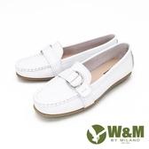 【南紡購物中心】W&M(女)經典樂福鞋 莫卡辛鞋 休閒女鞋-白(另有藕紫)