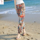 棉綢沙灘褲女民族風泰國人造棉度假寬鬆收腳褲哈倫褲燈籠褲花 快速出貨