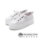WALKING ZONE(女)小鑽飾車白線增高厚底休閒 女鞋-白(另有黑)