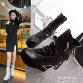 百搭春秋季坡跟厚底中筒短靴黑色馬丁靴內增高10cm靴子女 可可鞋櫃
