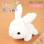Hamee 日本 Little Beans 療癒小動物 絨毛玩偶 掌上型娃娃 (兔子/白) 390-896390